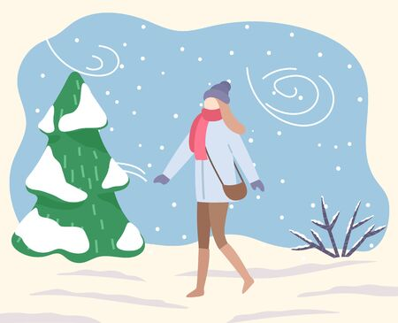 Woman in park or forest. Blizzard and bad weather conditions outdoors. Female character wearing warm clothes strolling on snow outside. Coldness and frost, low temperature vector in flat style