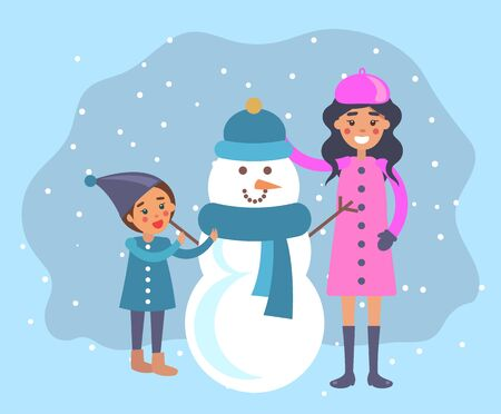 Outdoors winter activities for family. Mother and son sculpting snowman of snow decorating with knitted clothes, hat and scarf. Vacations or weekends pastime of mom and kid, vector in flat style 일러스트
