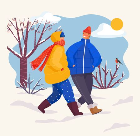 People spending winter weekends together. Couple wearing warm clothes coats and scarves strolling in park with trees and bushes. Snowy landscape, scene and sunshine at sky. Vector in flat style