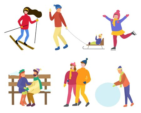 Collection of winter characters, isolated set of man and woman leading active lifestyle. Skiing female and child. Couple sitting on wooden bench. Personage with snowball, sculpting snowman vector