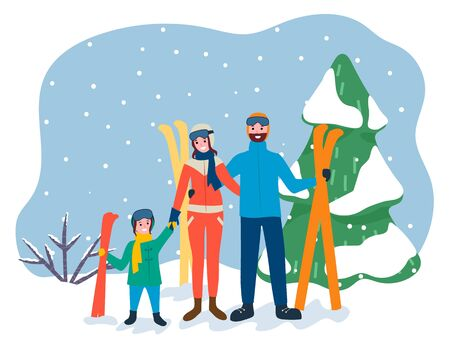 Family on winter vacation, mother father and kid in skiing resort. People smiling and posing on forest background. Mom and dad with child holding equipment for active sports. Vector in flat style 일러스트