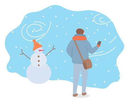 Winter snowstorm and bag weather conditions outdoors. Man wearing warm clothes passing snowman with hat. Landscape in wintertime, snowflakes and frost outside. Seasonal temperature vector in flat