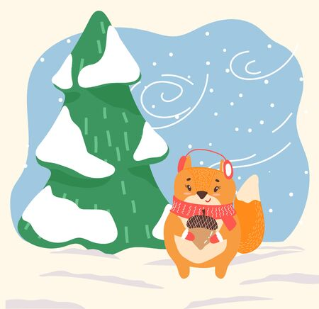 Cartoon animal stand on snowy ground in forest. Orange squirrel with acorn in paws dressed in earmuffs and scarf. Character walk among fir trees in winter wood. Vector illustration in flat style  イラスト・ベクター素材