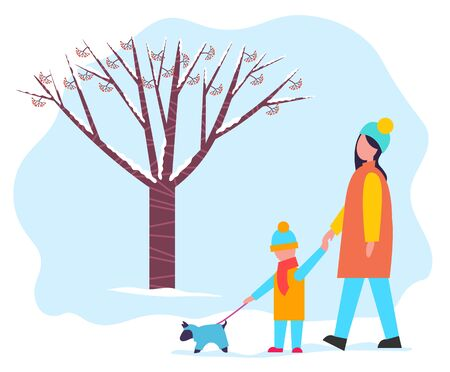 Mother and child strolling in winter park or forest. Woman with her kid in warm clothes like overcoat, scarf and hat. People walking with little dog in clothing on leash. Vector illustration in flat Illustration