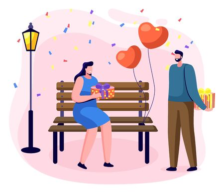 People celebrating anniversary giving presents on special date. Man and woman with gifts in park. Romantic boyfriend and girlfriend in park. Male with box and heart shaped balloons. Vector in flat 向量圖像
