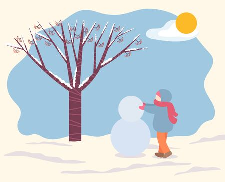 Child wearing warm clothes making snowman of snow. Snowy weather and sunshine in park. Forest with tree and branches covered with snow. Kid on holidays sculpting character, vector in flat style