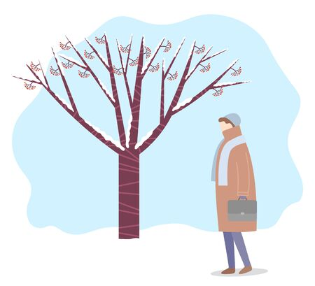 Female personage wearing warm clothes, hat and scarf walking in winter park. Forest with tree branches covered with snow. Wintertime and bad weather conditions. character outdoors vector in flat