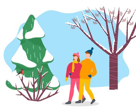 Man and woman walk through winter park or wood. People stroll hugging each other. Couple on romantic date in forest among snowy fir tree and shrub. Vector illustration of dating in flat style
