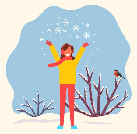 Female character throwing up snow pile. Snowflakes sparkling in air. Woman wearing warm clothes knitted sweater and scarf. Character in wintry park or forest. Bush with bullfinch on twig vector