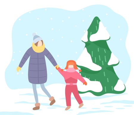 Mom and kid walking in winter park. Mother and daughter strolling in pine forest. Tree branches of spruce covered with snow. Snowy landscape outside, cold weather of season. Vector in flat style Illusztráció