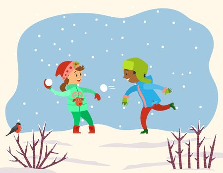 Children playing with snow balls together in snowy park or forest. Kids play snowballs, spend time actively doing winter outdoor activity. Landscape with snowflakes and shrubs. Vector illustration
