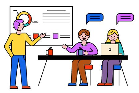 Business consultation. Man and woman work in team on seminar. People listening to coach discussing on materials of lecture. Whiteboard with data in visual form, learning and obtaining skills vector Ilustración de vector