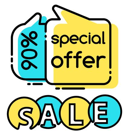 Special offer discount reduction off price, promotional banner in line style. Clearance of shop proposing clients goods on low cost. Business offer at market. Shopping with economy vector in flat