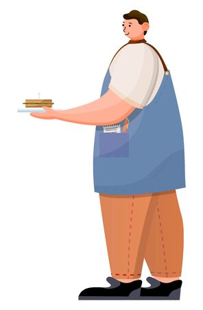 Barista or waiter carry sandwich on plate in hand. Server in cafe dressed in uniform like apron. Guy bring order for customer. Person isolated on white background, vector illustration in flat style