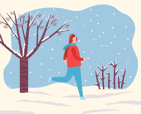 Woman running in snowy forest or park alone. Lady spend time actively doing hobby during snowfall. Outdoor activity in winter. Beautiful landscape with lot of snow on ground. Vector illustration