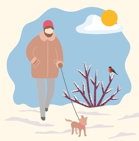 Owner of pet walking dog on leash in wintry cold park. Female character strolling with puppy in winter forest with bushes covered with snow and bullfinch sitting on branches. Vector in flat style