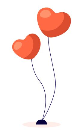 Two red helium balloons for celebration event like wedding or Valentines day. Festive decoration for party. Heart shaped objects isolated on white background. Vector illustration in flat style