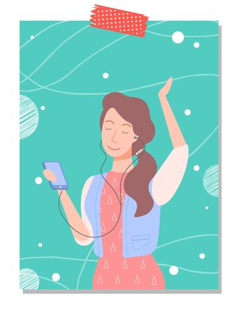 Young woman listening music on her phone and dancing. Girl listens to songs through headphones and moves to sound. Vector illustration flat style