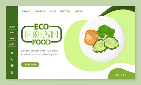 Eco fresh food and healthy blog online. Diet app slider with levels of natural ingredients for nutrition. Tomato and greens on plate. Website or webpage template, landing page flat design style vector