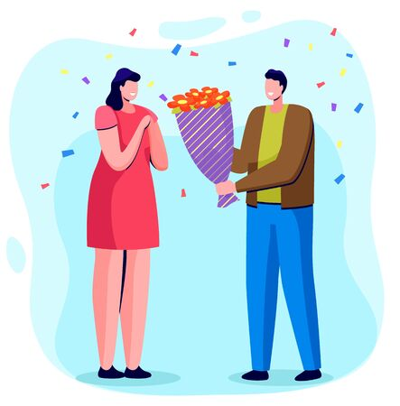 Man give bouquet to woman. People on date or birthday celebration. Lady happy to have roses on party. Romantic atmosphere of couple. Decor like confetti on background. Vector illustration in flat