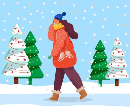 Lady walk in snowy forest alone. Woman dressed in warm clothes like hat and overcoat. Person carry footwear for skating. Beautiful landscape with decorated spruces. Vector illustration in flat style