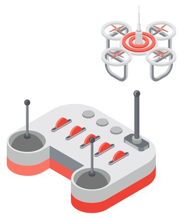 Drone with remote controller, wireless device with propellers, quadcopter symbol, aircraft with remotely radio controlled flying robots, discovery air robot for video and photo, multicopter vector