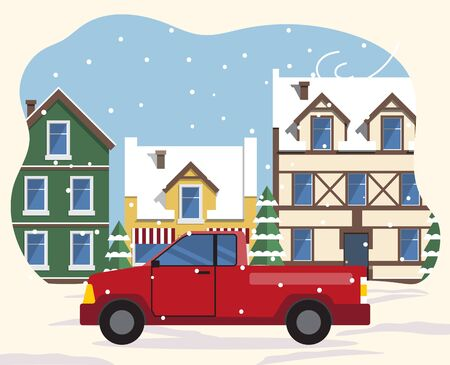 Car riding on streets of old town in winter. Snowing weather in city with vintage buildings exteriors. Cityscape with snowing weather and bad conditions. Skyline in wintertime, vector in flat style