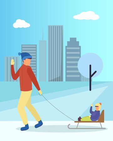 Father and daughter walking with sleigh in urban winter park. Happy parent and child sitting on sledge near snowy tree and high building. Leisure of dad and kid on snowy land with cityscape vector