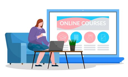 Designed website about online courses. Woman sit on sofa and work on computer. Distance learning using electronic devices and internet. Opened laptop with web page. Vector illustration in flat style Banco de Imagens - 138273526