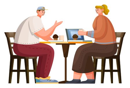 Two people have lunch in cafe. Man and woman sit on wooden chairs and drink coffee and eat muffins. Cozy place for relaxation and meeting with friend in cafeteria. Vector illustration in flat style