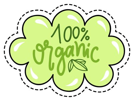 100 percent organic product patch isolated absolutely eco food. Vector illustration of stamp with green leaves, sticker with ecological clean farm veggies. High quality products market tag, pure leaf Иллюстрация