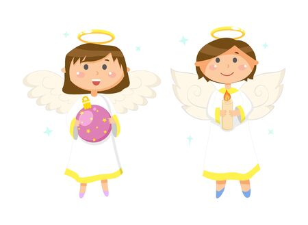 Girl holding glossy ball with stars, boy with candle, flying angels with wings and nimbus, smiling couple of little people in white clothes vector