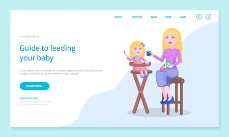 Guide to feed your baby. Mother giving small daughter sitting on chair food. Mommy and kiddo eating meal given by mom. Care for children. Website or webpage template, landing page vector in flat Ilustração