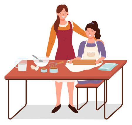 Mom and daughter cooking together. Mother teaching girl to make dough and bake. Female character using rolling pin. Adult personage cheering up child in kitchen preparing homemade food vector
