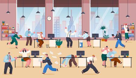 Menschen, die von Arbeit und Aufgaben gestresst sind. Chaos im Geschäftsbüro, Arbeiter hetzen und bewältigen Papierkram. Frustrierte Charaktere am Arbeitsplatz. Arbeitgeber schreit Mitarbeiter an, Vektor. Überarbeitete Zeit