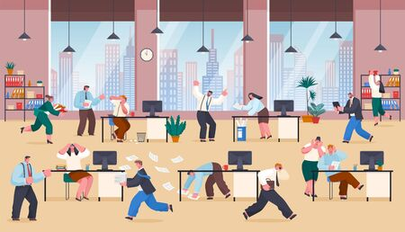 People stressed of work and tasks. Chaos in business office, workers rushing and coping with paperwork. Frustrated characters at working place. Employer shouting at employee, vector. Overworked time Иллюстрация