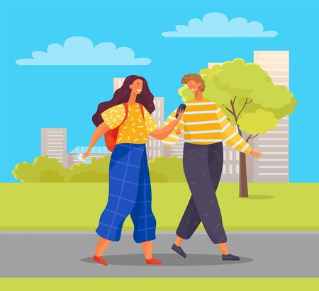 Man and woman on weekends in new city. Female character using smartphone to find right way. Friends walking in town park enjoying fair weather and greenery of nature. Vector in flat style
