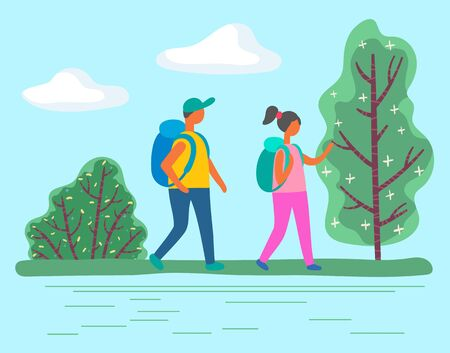 People wearing backpack going near green tree and bush plants. Adventure of man and woman characters in casual clothes on camping or hiking tour. Couple of male and female walking outdoor vector