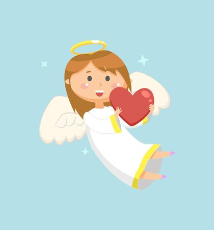 Angelic girl holding heart vector, stars and snowflakes glowing. Angel with wings and halo wearing long robe, kid laughing celebrating religious holiday