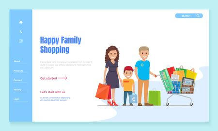 Family spending weekends on shopping. Father and mother with son holding bags standing by trolley with packages and purchases from many stores. Website or webpage template, landing page vector