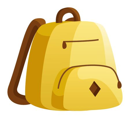 Yellow backpack, teenager casual accessory. Transporting educational materials to and from school, college or university. Pocket in front in addition to main storage compartment. Vector illustration
