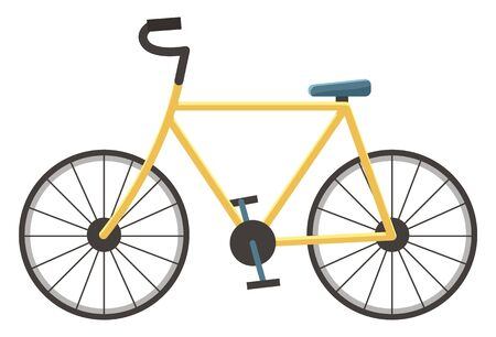 Bicycle consist of pedal and saddle, two wheels attached to frame, one behind the other. Isolated sport bike for active cyclist for offroad travel. Vector illustration on vehicle in flat style Illustration