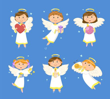 Angels and cupids, Christmas and Valentines day vector. Heart and gift, Xmas ball and gold stars, candle and trumpet, girls and boys with halo and wings