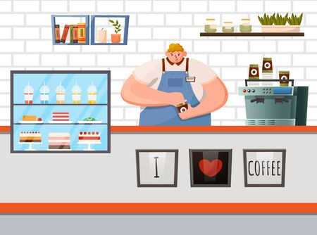 Coffeehouse interior, workplace of barista. Furniture for cafe like stance with coffee machine and pastry stand with cakes and muffins. Worker of cafe dressed in uniform, vector illustration in flat