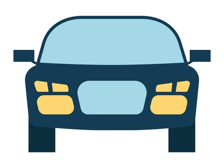 Car bonnet portrait view headlamps and glass detail. Automobile sedan model with mirrors isolated on white. Transportation equipment auto carcass symbol in blue color. Medical insurance element vector