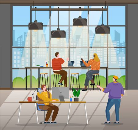 Office with people coworking together. Character doing their job, using devices and laptops. IT specialists and managers of company, team leader giving tasks and making check. Vector illustration Banco de Imagens - 138273686