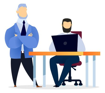 Our team get best service man colleague communicating with computer. Worker sitting at desktop and using laptop on workplace. Business startup of employees and teamwork cooperation for success vector Illustration