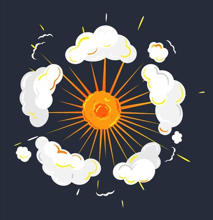Fireball explosion of energy, isolated icon of abstract shape. Glowing bright plasma with smoke and clouds. Rounded form of eruption. Outburst for game design. Vector in flat style illustration Ilustrace