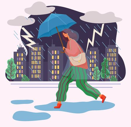 Young woman walking under rain and lightnings. Person dressed in waterproof cloth like raincoat. Lady hold umbrella in hand. Rainy weather in autumn. Vector illustration of thunderstorm in flat style