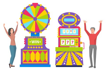 Young girl spinning colorful roulette wheel. Man playing slot machines. Excited people winning money in casino. Game of chance, taking risks, gambling vector